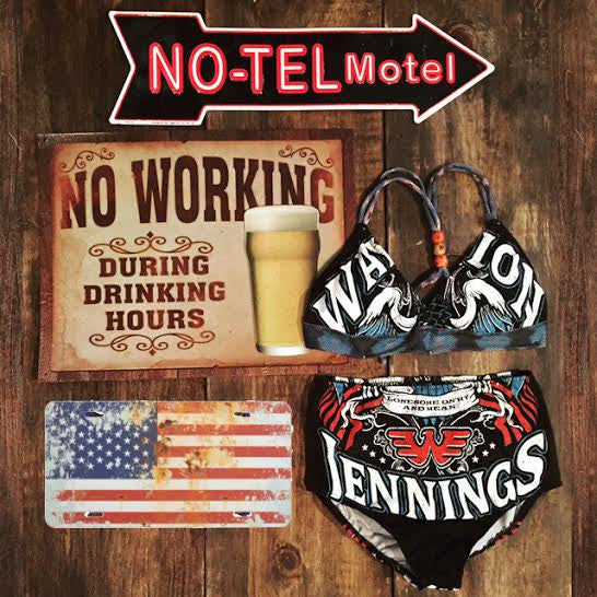 rock and roll honky tonk On'ry and Mean Hoss Waylon Jennings Watasha made in USA  Teekini t-shirt bikini rock n roll rock and roll bikinis miami made in usa limited edition kini handmade bikinis handmade Custom bikinis Betty Bangs Bikinis american made high waist cut outlaw country Texas