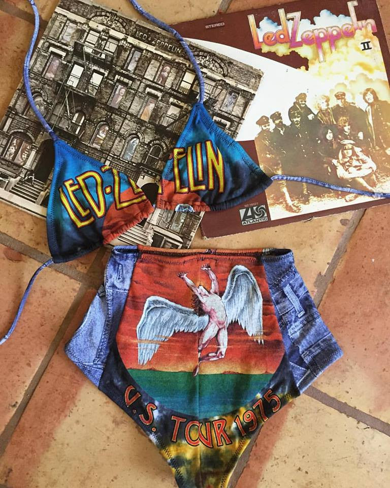rock and roll Led Zeppelin Robert Plant jimmy Page Swan Song Song remains the same made in USA  Teekini t-shirt bikini rock n roll rock and roll bikinis miami made in usa limited edition kini handmade bikinis handmade Custom bikinis Betty Bangs Bikinis american made high waist cut