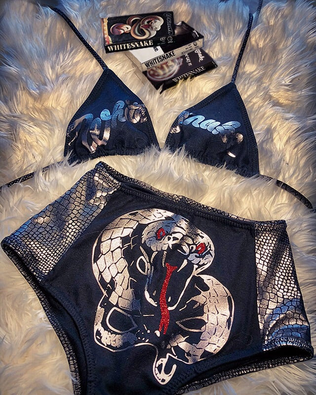 rock and roll Heavy Metal Whitesnake Trouble David Coverdale made in USA hand studded Teekini t-shirt bikini rock n roll rock and roll bikinis miami made in usa limited edition kini handmade bikinis handmade Custom bikinis Betty Bangs Bikinis american made tshirt bikini teekini 80's high waist