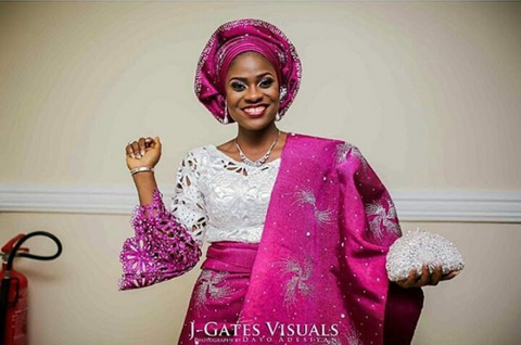 Happy Nigerian bride in white and pink beaded aso oke in Opemie Picks Vol 3