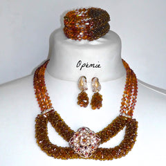 Brown Copper and Gold Nigerian Beads for Nigerian Brides