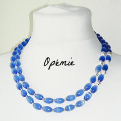 Handmade beaded blue necklace