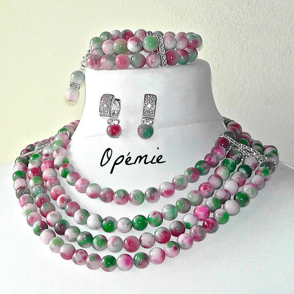 Opemie - Multicoloured Jade Nigerian Beads statement necklace.