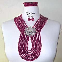 Dark Red Nigerian Bridal Beads