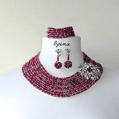 Mixed colours red, coral and purple faux pearls Nigerian Beads