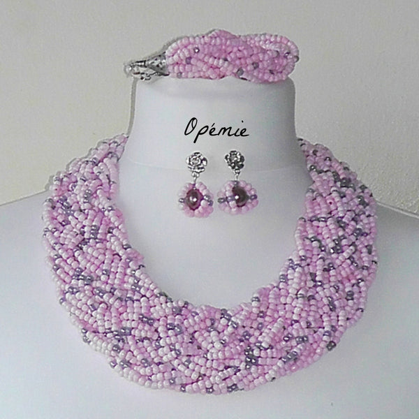 Pink Seed Beads Nigerian Necklace for sale on Opemie