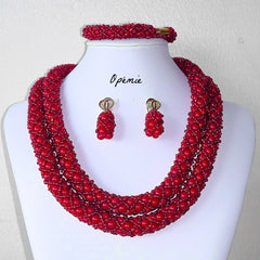 Red Tubular Nigerian Beads