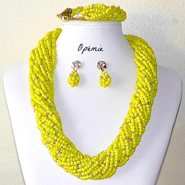 Yellow Seed Beads Nigerian Necklace For Sale on Opemie