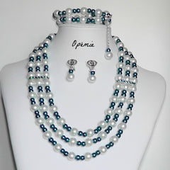 Nigerian Beads - Teal and White Statement Necklace Jewelry