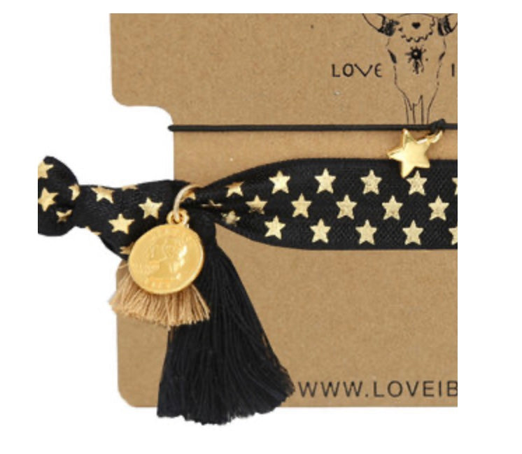 Superstar Black & Gold Wristie / Hairties