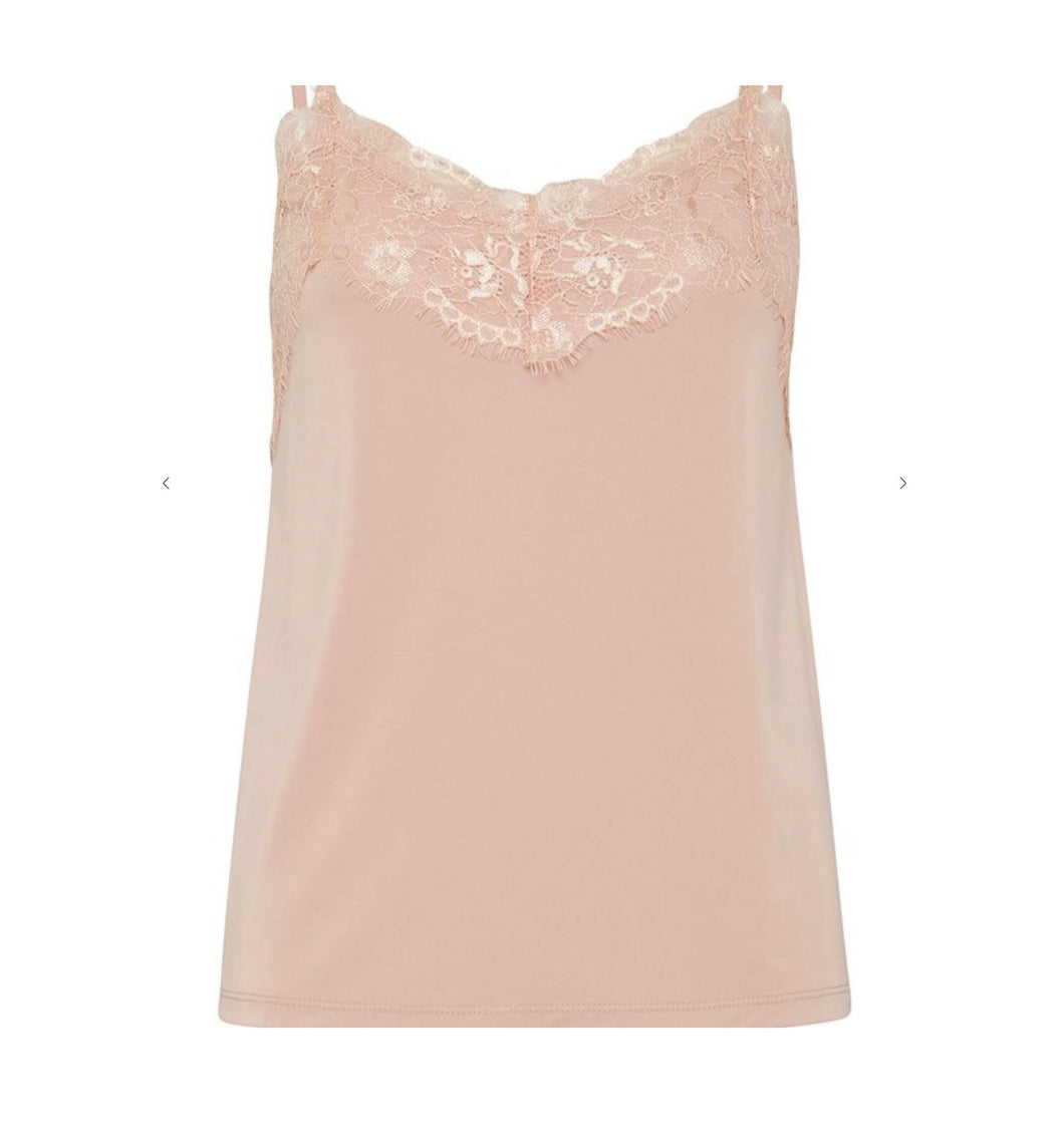 Lace Trimmed Camisole Top Soft Peach