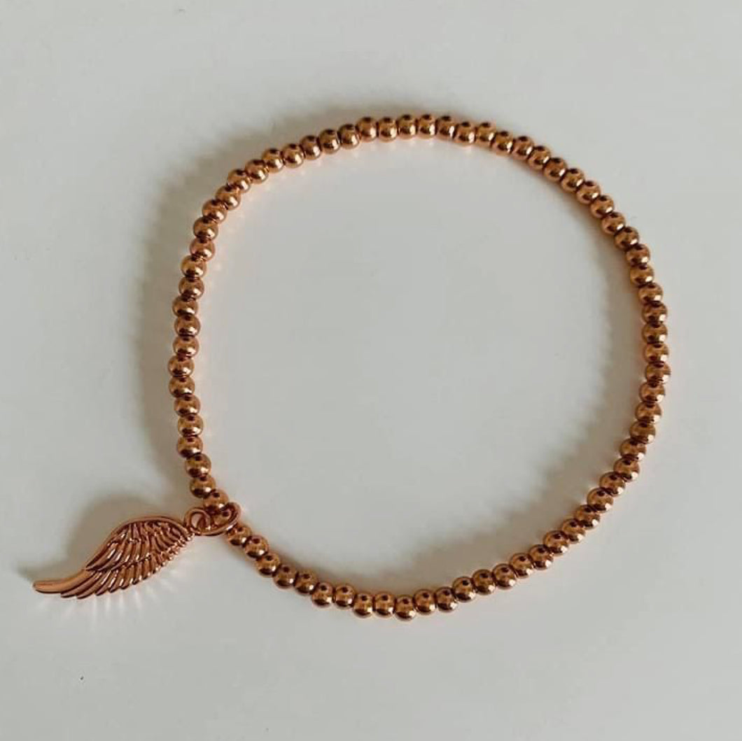 Beaded Nell Angel Wing Bracelet - Rose Gold