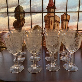 GP0034 12 Edwardian Hand Blown Acid Etched Crystal Wine Glasses
