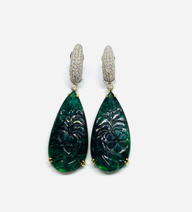 18kt White Gold Carved Emerald and Diamond Ear Pendants