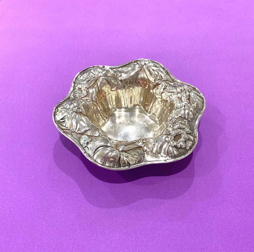 Silver Bowl by Gorham with Flower Border