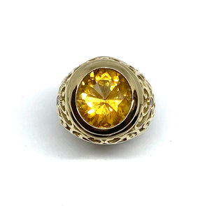 9kt Yellow Gold Citrine and Diamond Ring