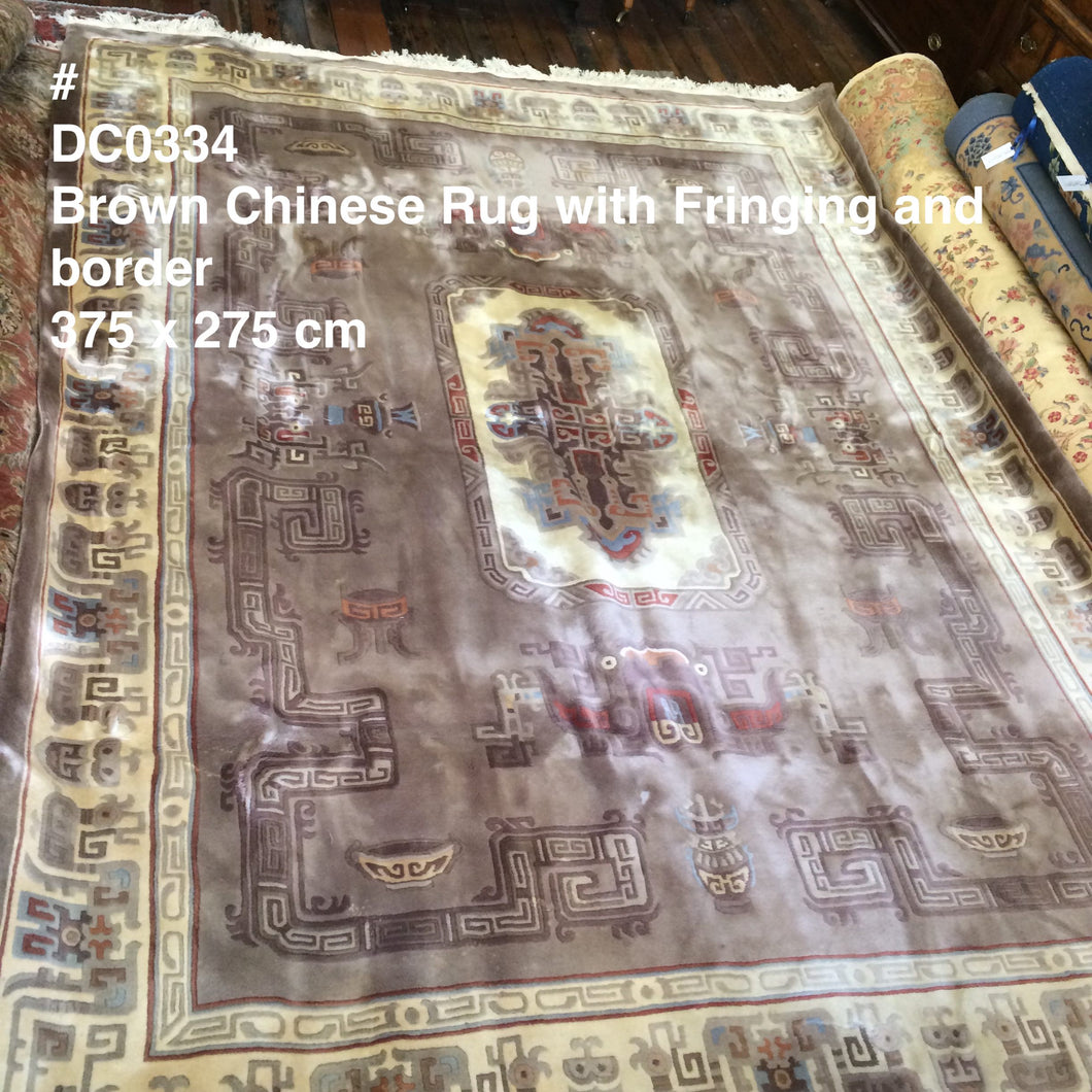 DC0334 Large Chinese Brown Wool Rug with Fringing and Border