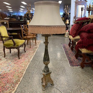 LT0041 Tall Italian Gilt Timber Candle Stand Converted to Lamp - Antiques and Possibilities