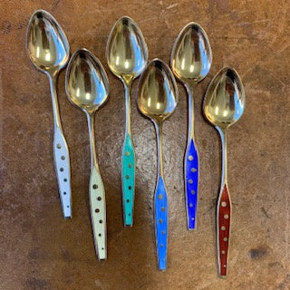 SF1286 Set of 6 Polychrome Gold Washed, Guilloche & Hand Enameled Sterling Demitasse Spoons