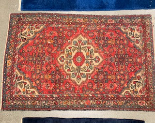 DC0020 Small Persian Hand Knotted Red Wool Rug - Antiques and Possibilities