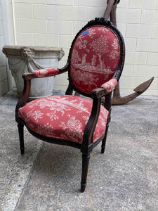 FS0043 French Louis XVI Style Armchair Upholstered in Red Fabric