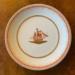 GP0003 Large Nautical Plate with a Sailing Ship in Red and Gold Detail