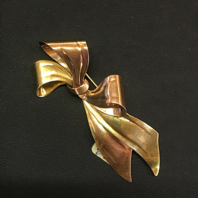 JB0441 14kt Yellow and Rose Gold Bow Brooch