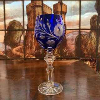 GP1286 Set of 3 Blue Cut Crystal Wine Glasses