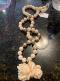 JN0548 Coral Strand with 14kt Beads and Carved Coral Pendant