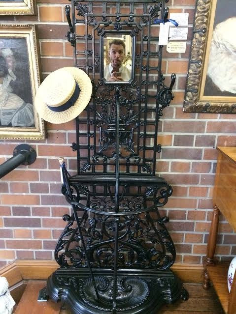 FO0049 A Black Victorian Wrought Iron Hall Stand