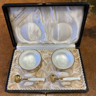 SF1277  Pair of Sterling Vermeil & White Hand Enamelled Salt Cellars & Spoons