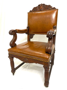 Gothic Revival English Oak Desk Chair