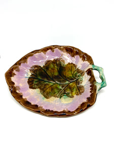 Pink and Brown Majolica Dish with Green Stem