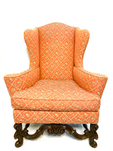 Century Wingback in Carved Walnut, Flemish Scroll Legs and Coral Fabric