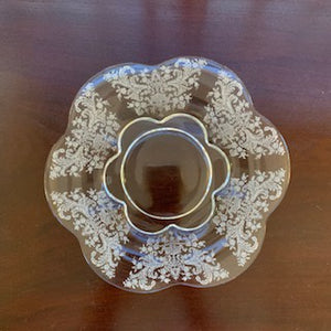 GP0036 12 Edwardian Acid Etched Hand Made Crystal Plates