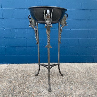 FO0067 A Bronze Planter Stand with a Bowl and Mermaids