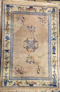 DC0350  Large Chinese Cream and Light Blue Rug