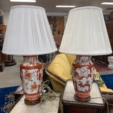 LT0006 Pair of Late Meiji Period Porcelain Lamps - Antiques and Possibilities
