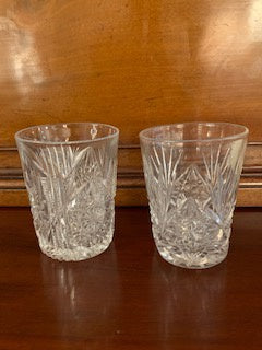 GP0144 A Pair Of Cut Crystal Mismatched Whisky Tumblers