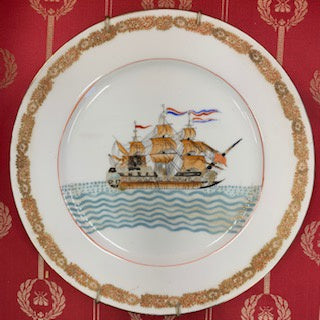 GP0004 Nautical Plate with a Sailing Ship