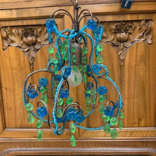 LT0027 Small Blue and Green Glass Chandelier