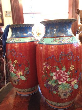 AA0492 Pair of Ceramic Vases in Red, Blue & Emerald with Floral Design