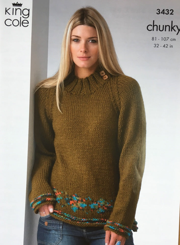 King Cole Knitting Pattern 3432 Chunky Sweater Coat