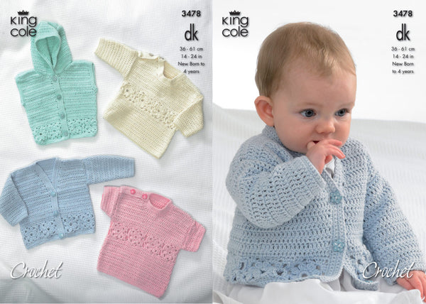 King Cole Crochet Pattern 3478 baby cardigan