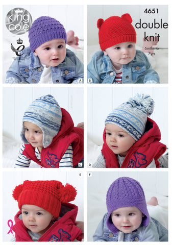 King Cole Knitting Pattern 4651 Children's Hats
