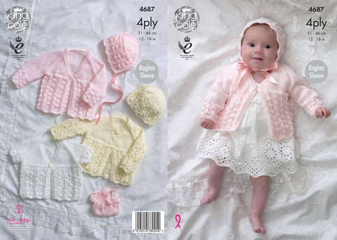 King Cole Matinee Coat Bonnet Hat Bootees Knitting Pattern 4687