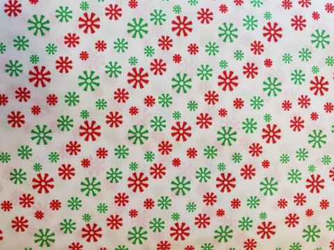 100% Cotton White Green Red Snowflake Fabric