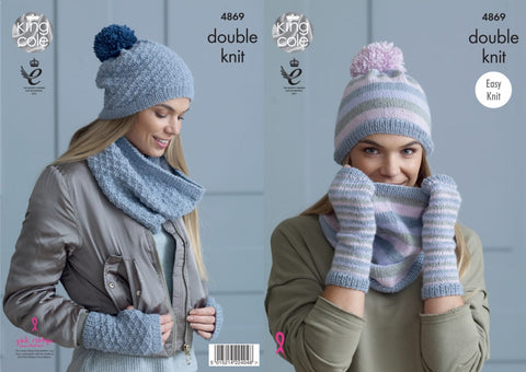 King Cole 4869 Knitting Pattern Womens Snoods Hats and Mitts in Baby Alpaca DK