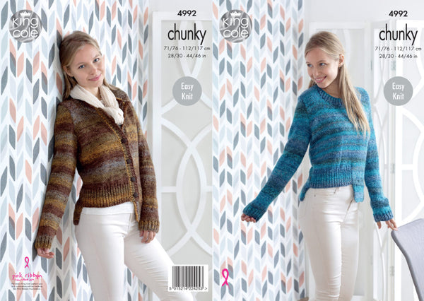King Cole Knitting Pattern 4992 Chunky Sweater Cardigan