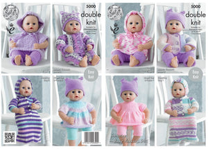 King Cole Knitting Pattern DK 5000 Dolls Clothes